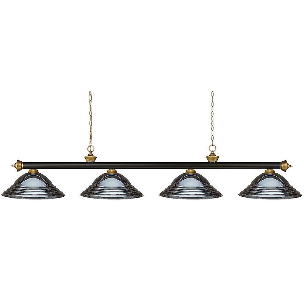 Filament Design 4-Light Bronze and Satin Gold Island/Billiard with Gun Metal Steel Shade - 82 inch