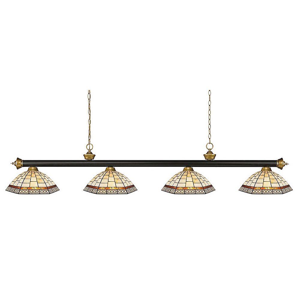 Filament Design 4-Light Bronze and Satin Gold Billiard with Tiffany Glass - 80 inch