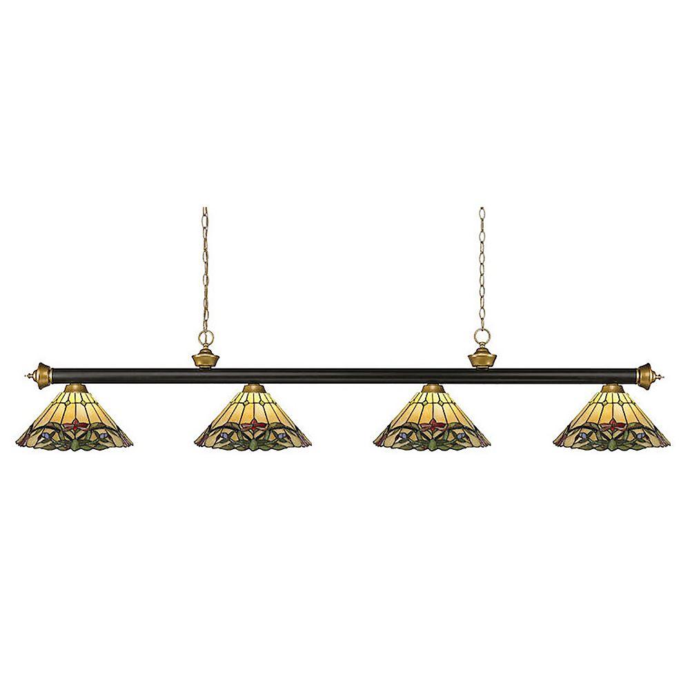 Filament Design Billard à 4 lumières, bronze et or satiné avec verre Tiffany multicolore