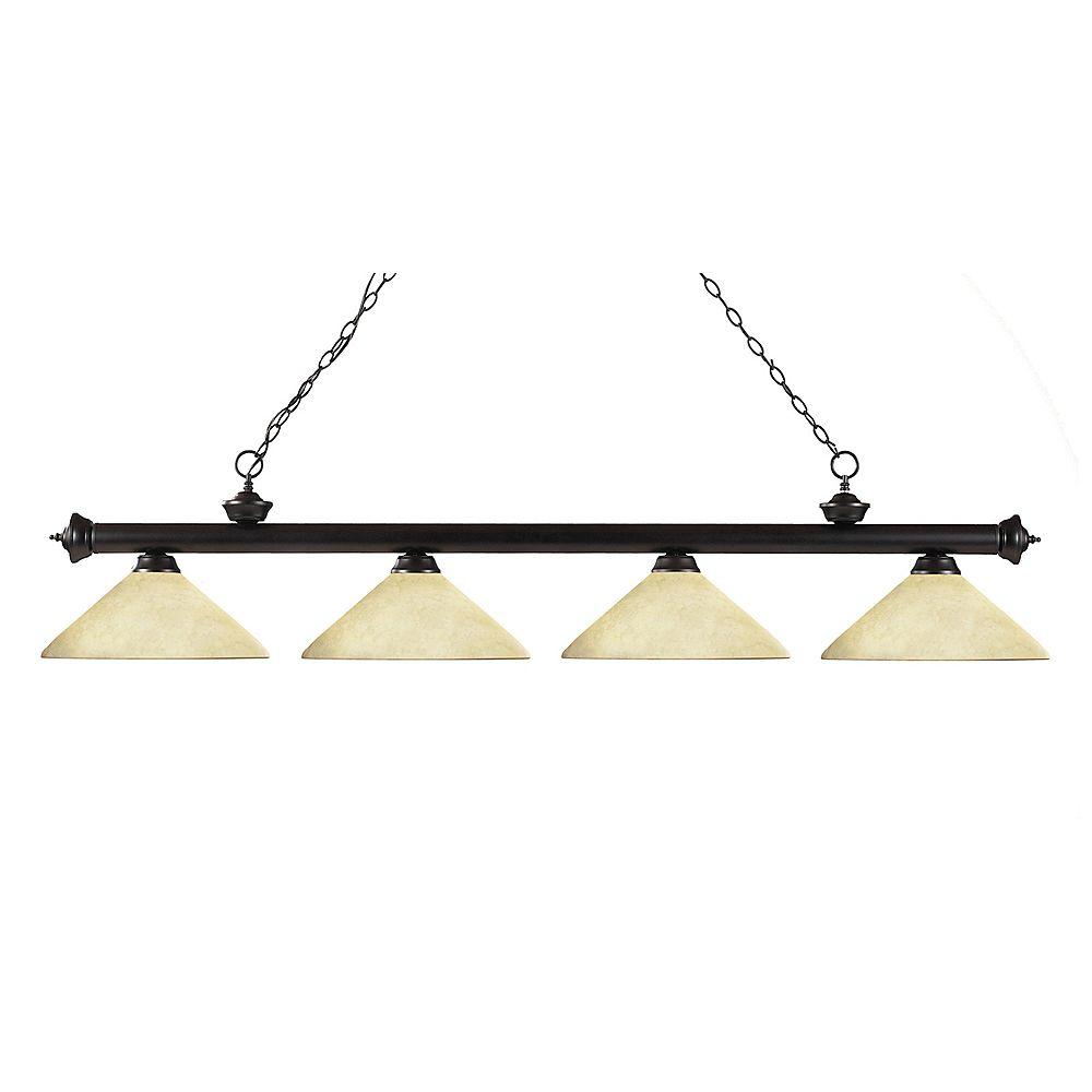 Filament Design 4-Light Bronze Billiard with Golden Mottle Glass - 80 inch
