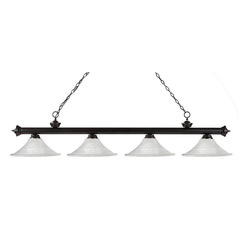 Filament Design Billard en bronze à 4 ampoules avec gateau blanc