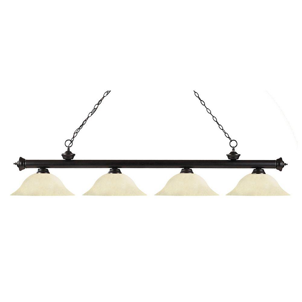 Filament Design Billard Île / Île en bronze à 4 ampoules avec verre tacheté doré - 82 po