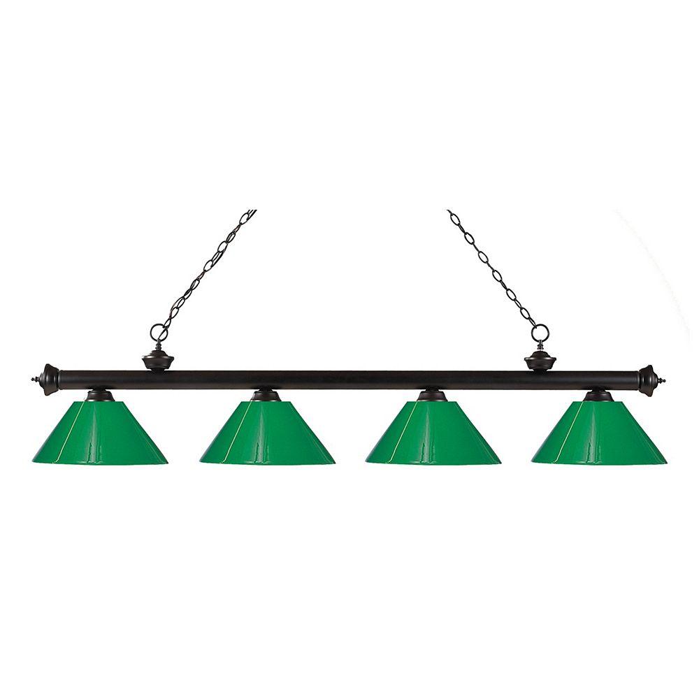Filament Design 4-Light Bronze Island/Billiard with Green Plastic - 80 inch