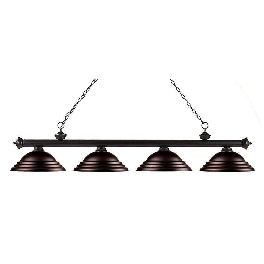 Filament Design Îlot de billard à 4 ampoules en bronze avec abat-jour en acier bronze - 82 po