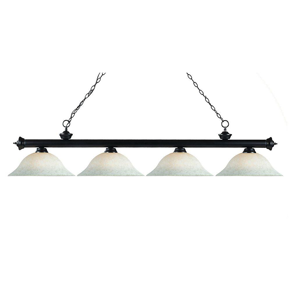 Filament Design Billard Bronze à 4 Lumières avec Verre Blanc Mottle