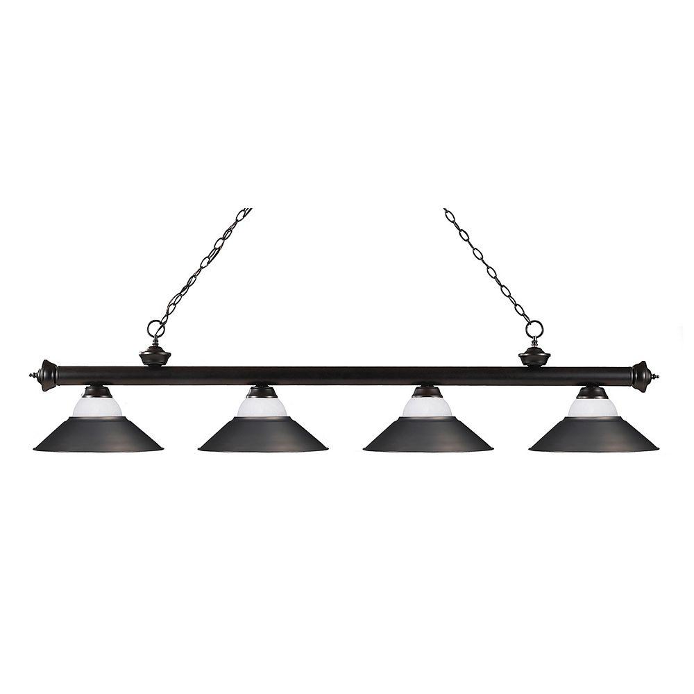 Filament Design Billard Île / Île en bronze à 4 ampoules avec tache blanche; Abat-jour en verre et en acier Olde Bronze - 80 pouces