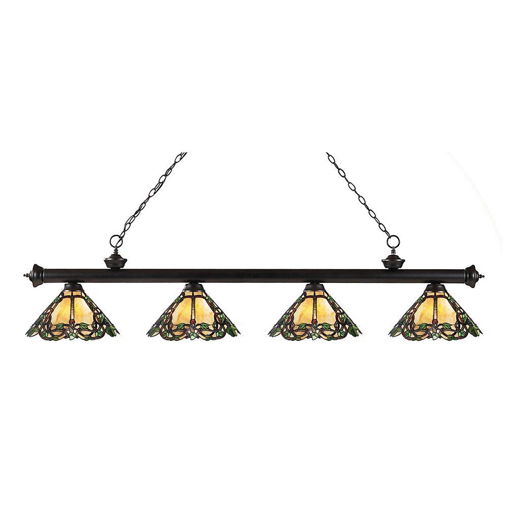 Filament Design Billard Île / Île en bronze à 4 ampoules avec abat-jour en verre Tiffany multicolore