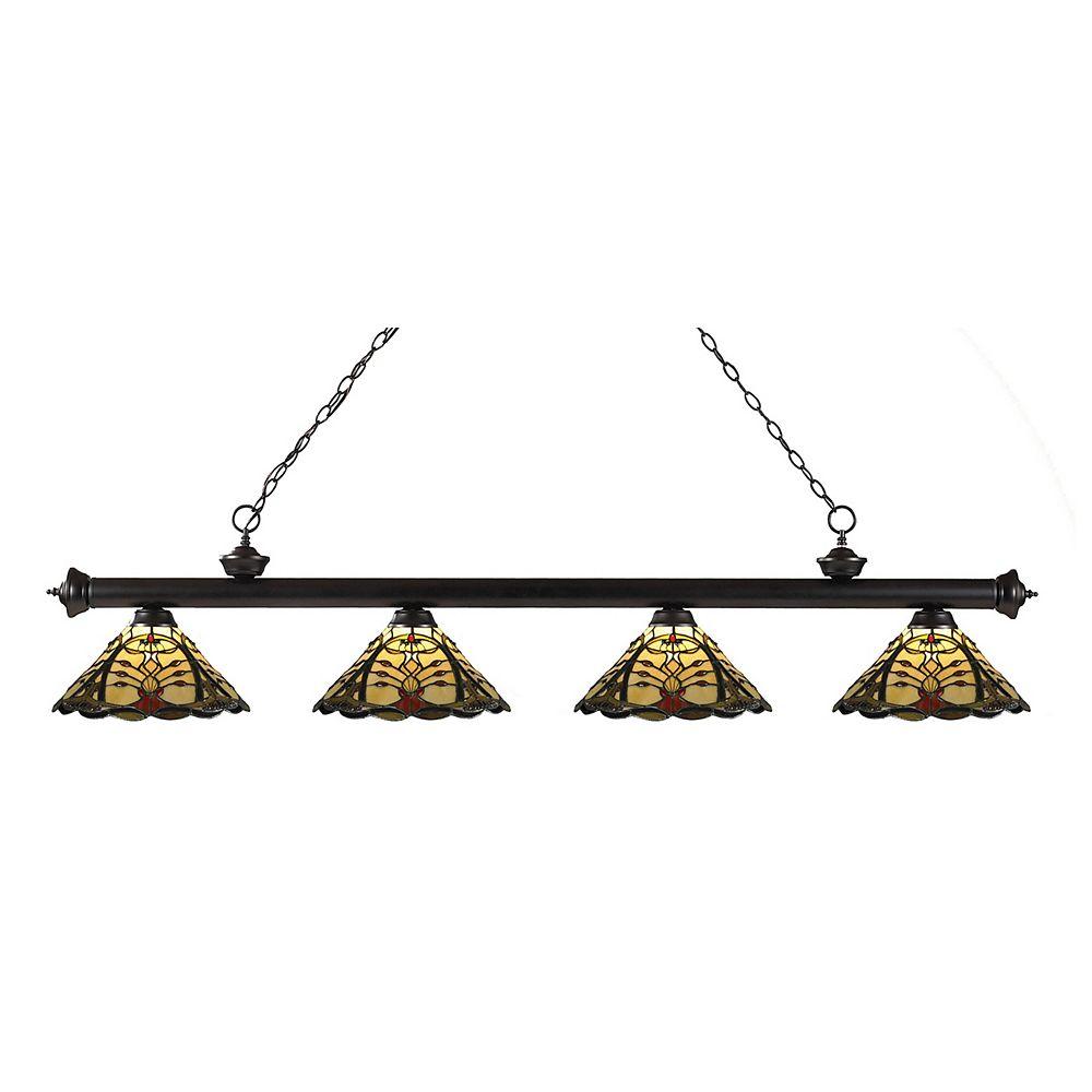 Filament Design Billard à 4 ampoules bronze et intensité variable, verre Tiffany multicolore, 80 po