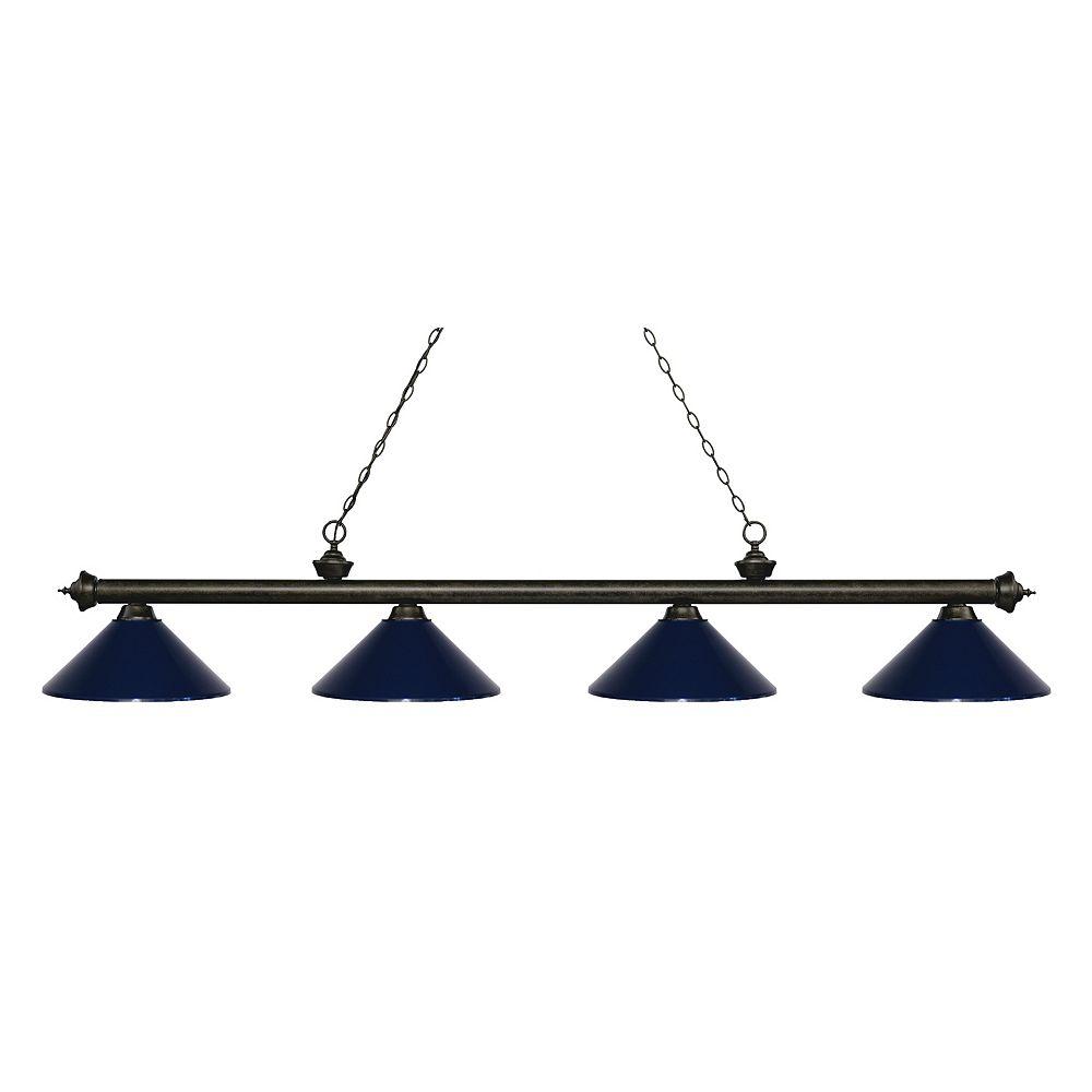 Filament Design 4-Light Golden Bronze Island/Billiard with Navy Blue Steel Shade - 80.75 inch