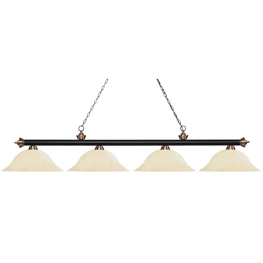 Filament Design Billard noir mat et à 4 lampes antiques Copper Island avec verre à mottle doré - 82,5 pouces