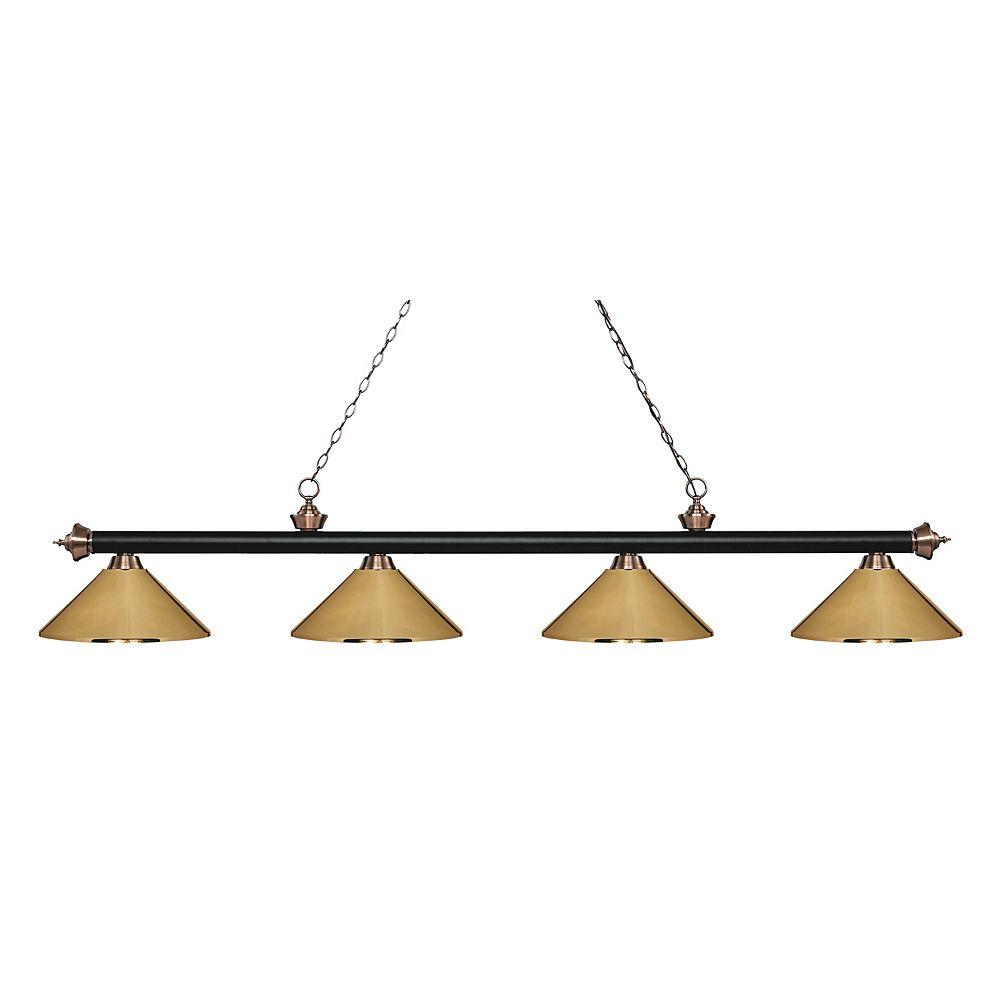Filament Design Îlot de billard noir à 4 ampoules et cuivre antique avec abat-jour en acier au laiton poli - 80,75 pouces