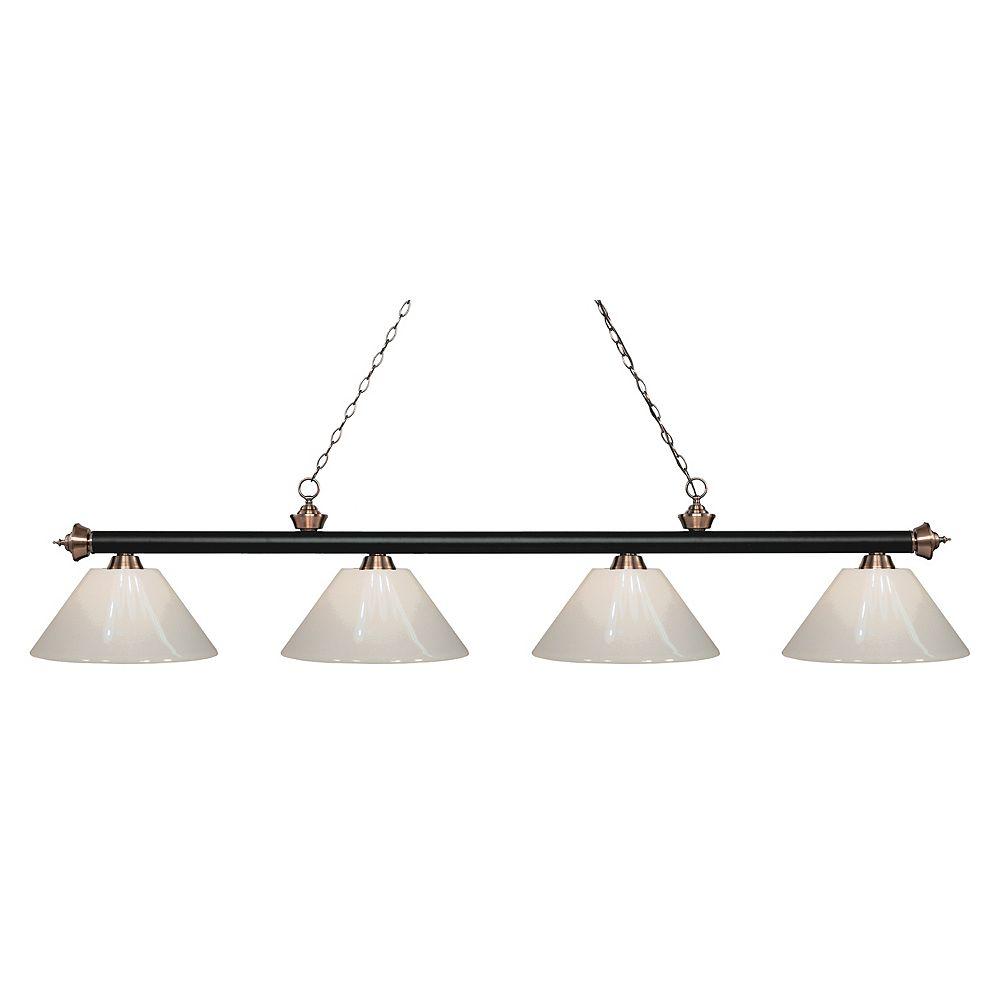 Filament Design 4-Light Matte Black and Antique Copper Island/Billiard with White Plastic - 80.5 inch