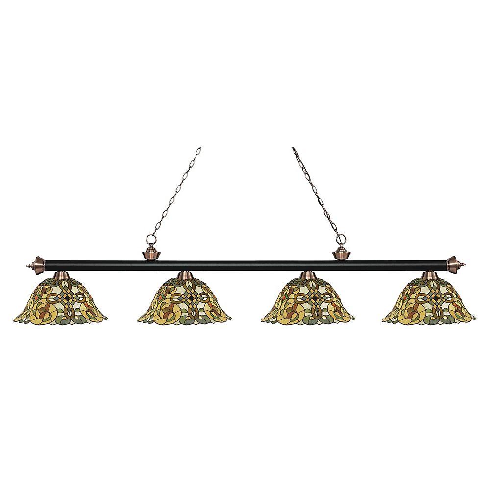 Filament Design 4-Light Matte Black and Antique Copper Billiard with Tiffany Glass - 80.5 inch