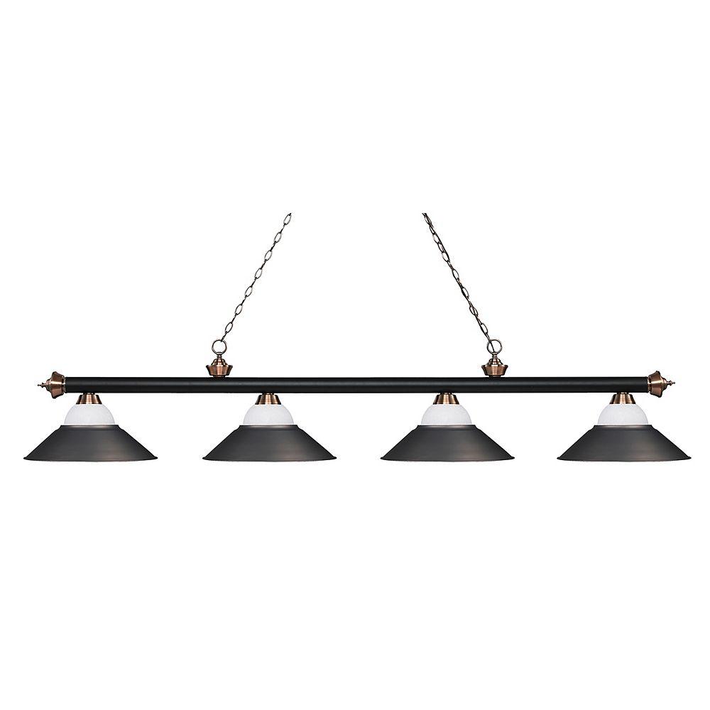 Filament Design 4-Light Matte Black and Antique Copper Island/Billiard - 80 inch