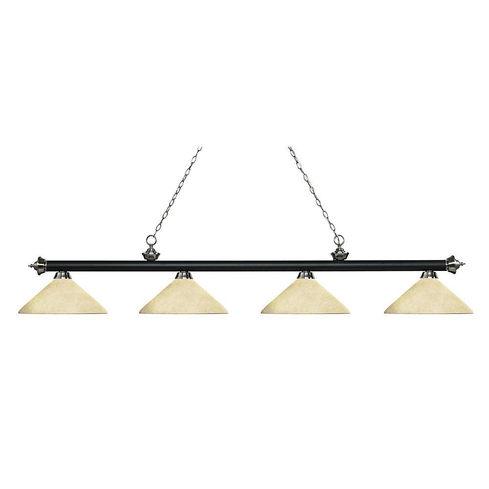 Filament Design 4-Light Matte Black and Brushed Nickel Island/Billiard with Golden Mottle Glass - 80.25 inch
