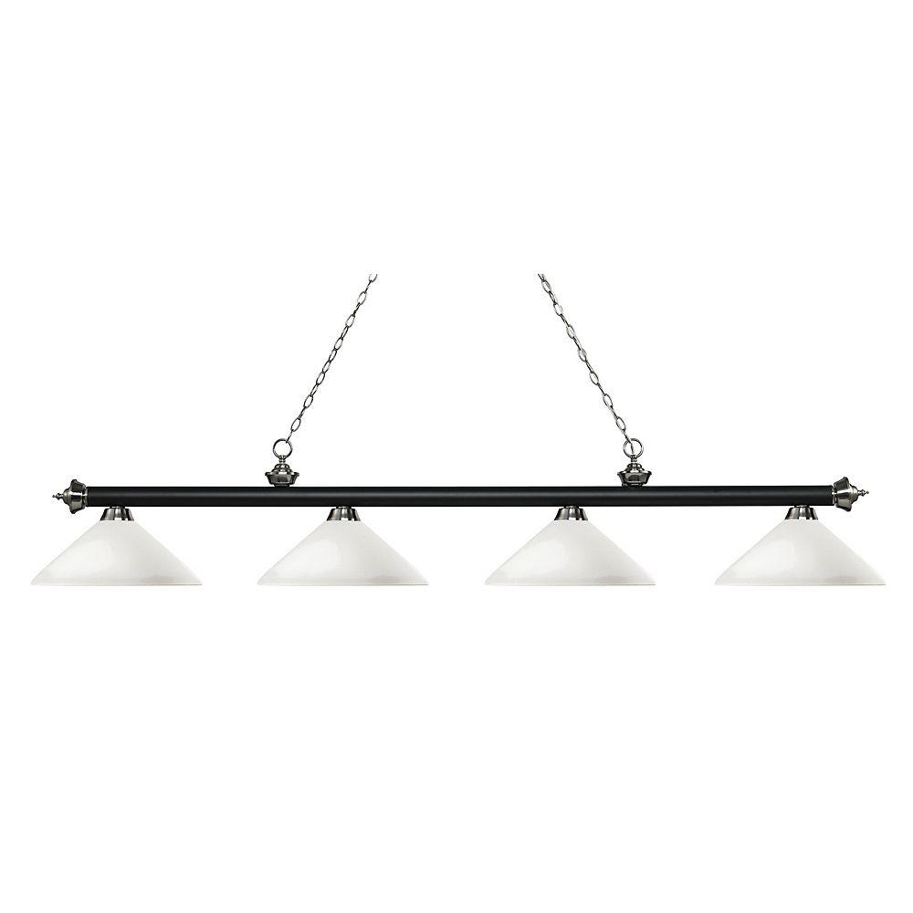 Filament Design Îlot de billard à 4 lumières, noir mat et nickel brossé avec verre opale mat - 80,25 pouces