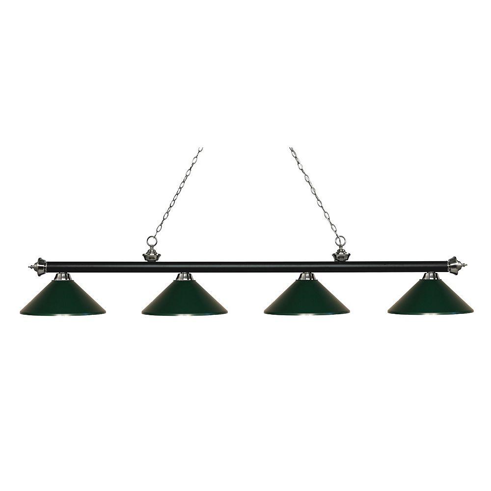 Filament Design 4-Light Matte Black and Brushed Nickel Island/Billiard with Dark Green Steel Shade - 80.75 inch