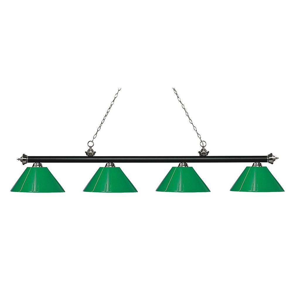 Filament Design 4-Light Matte Black and Brushed Nickel Island/Billiard with Green Plastic - 80.5 inch