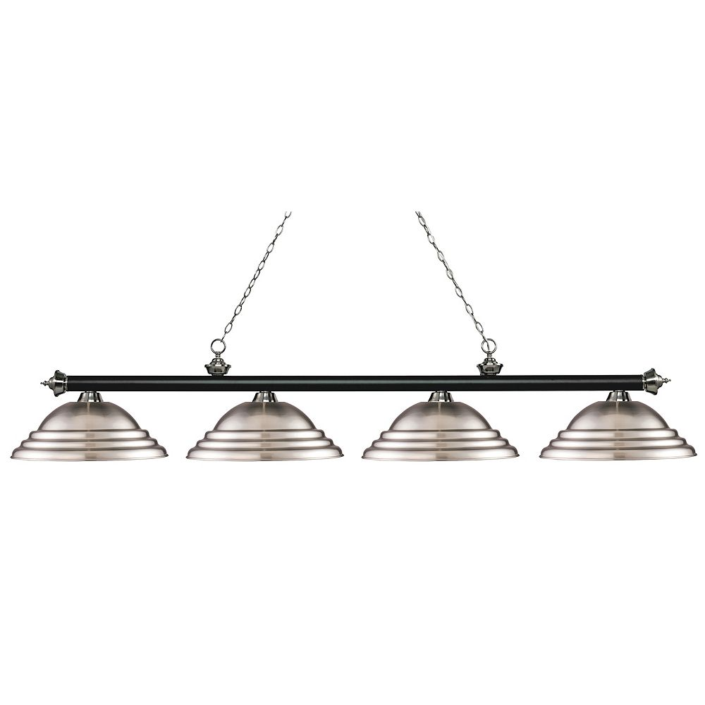 Filament Design 4-Light Matte Black and Brushed Nickel Island/Billiard with Brushed Nickel Steel Shade - 82.25 inch