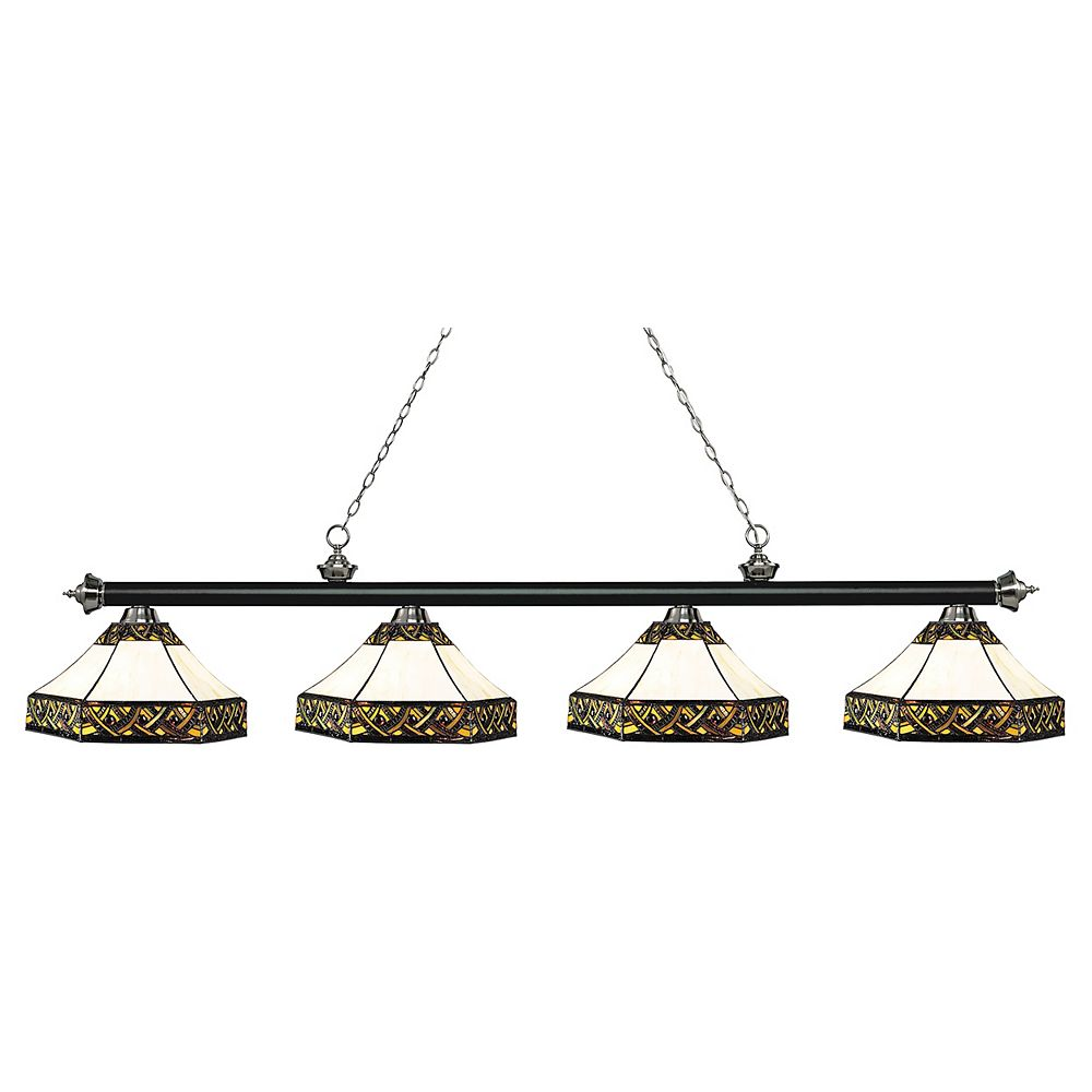 Filament Design 4-Light Matte Black and Brushed Nickel Island/Billiard with Multi Colored Tiffany Glass - 82.5 inch