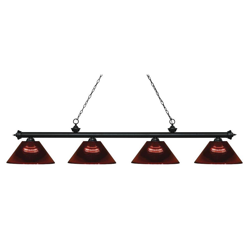 Filament Design Billard noir mat 4 lumières avec abat-jour en acrylique bordeaux - 80,75 pouces