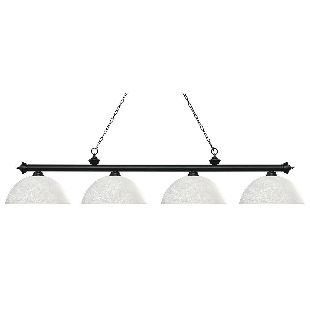 Filament Design Billard noir mat et 4 lumières avec verre blanc