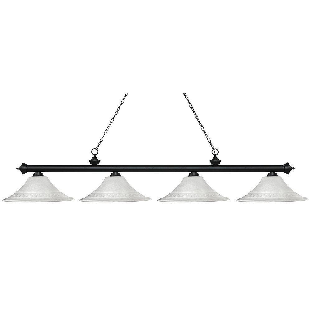 Filament Design 4-Light Matte Black Island/Billiard with White Mottle Glass - 83 inch