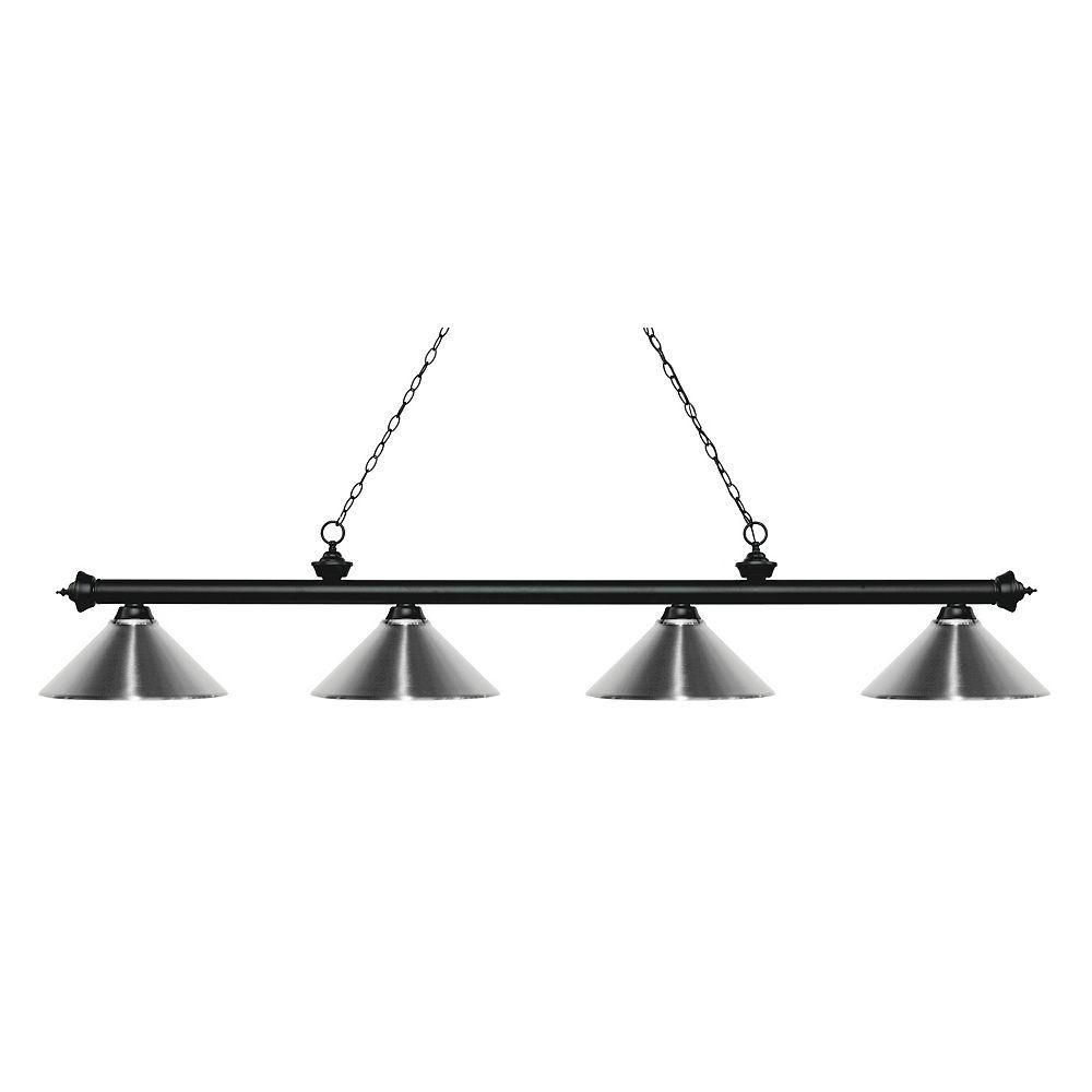 Filament Design 4-Light Matte Black Island/Billiard with Chrome Steel Shade - 80.75 inch