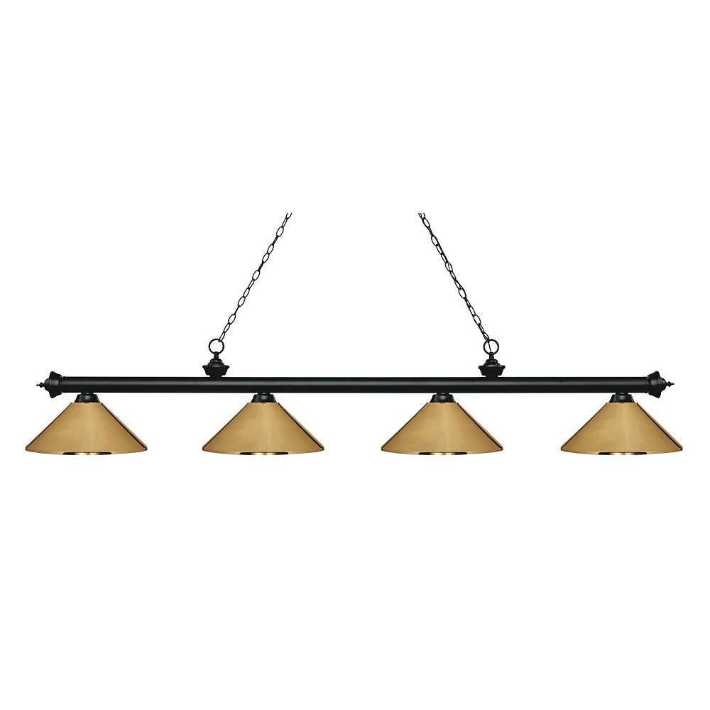 Filament Design 4-Light Matte Black Island/Billiard with Polished Brass Steel Shade - 80.75 inch