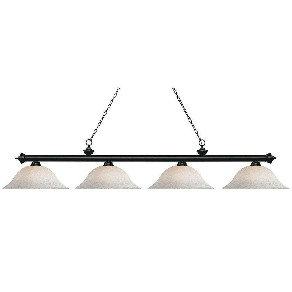 Filament Design Billard noir mat avec 4 lumières, blanc