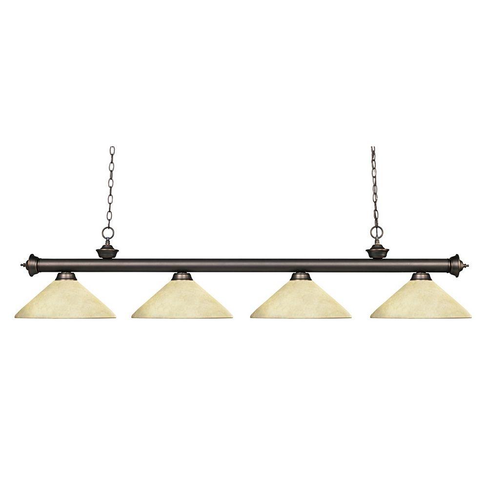 Filament Design 4-Light Olde Bronze Billiard with Golden Mottle Glass - 80 inch
