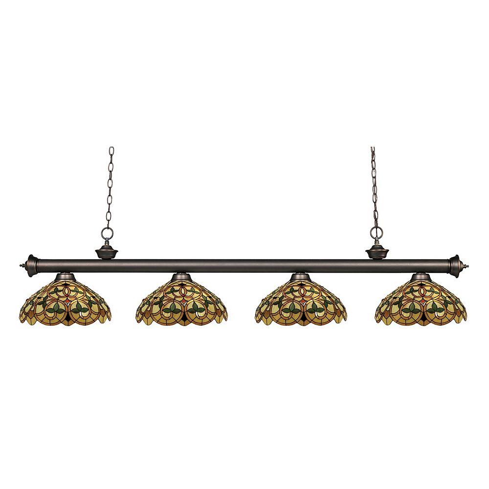 Filament Design 4-Light Olde Bronze Billiard with Multi-Colored Tiffany Glass - 80 inch