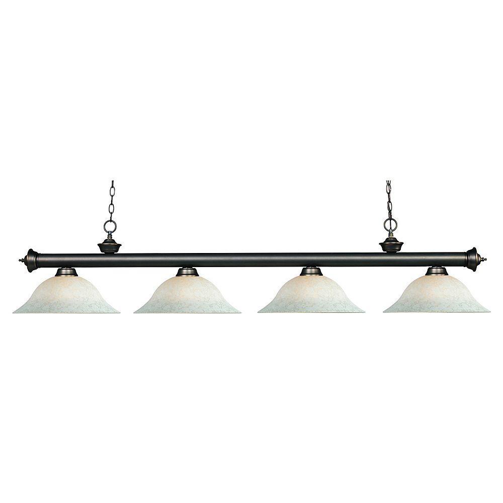 Filament Design Billard bronze à 4 ampoules et verre blanc