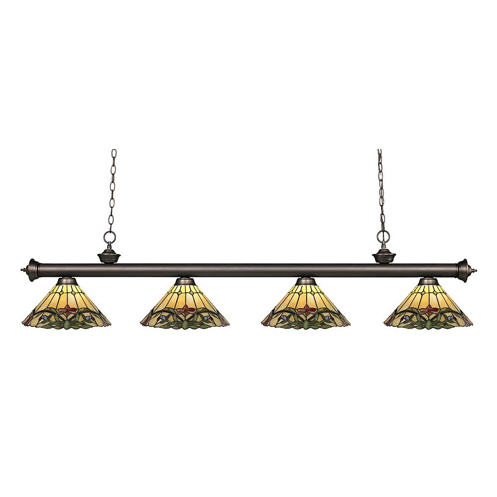 Filament Design 4-Light Olde Bronze Island/Billiard with Multi Colored Tiffany Glass - 80 inch