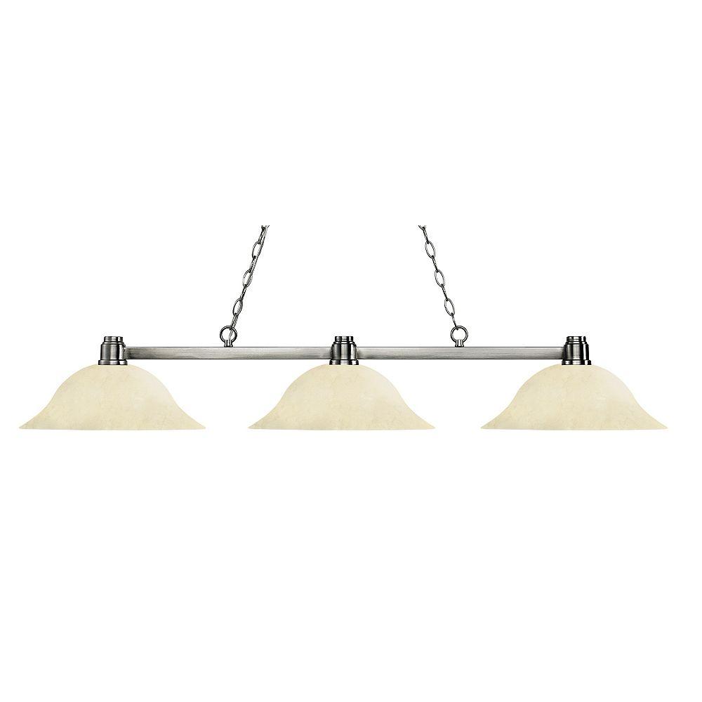 Filament Design Island / Billard à 3 lumières, nickel brossé et verre à oreille doré - 55 po