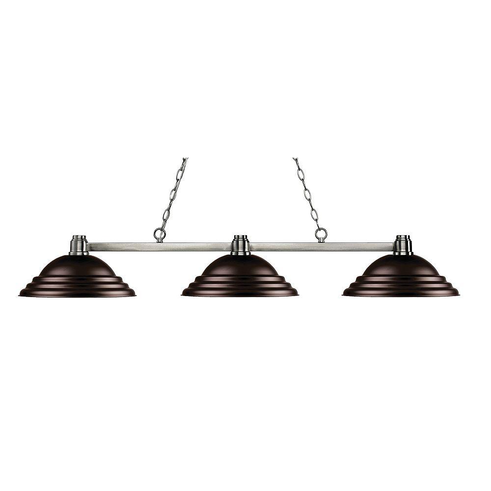 Filament Design Island / Billard à 3 ampoules nickel avec abat-jour en acier bronze