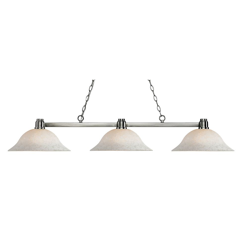 Filament Design 3-Light Brushed Nickel Island/Billiard with White Mottle Glass - 55 inch