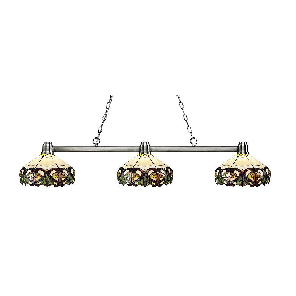 Filament Design 3-Light Brushed Nickel Island/Billiard with Multi Colored Tiffany Glass - 53 inch