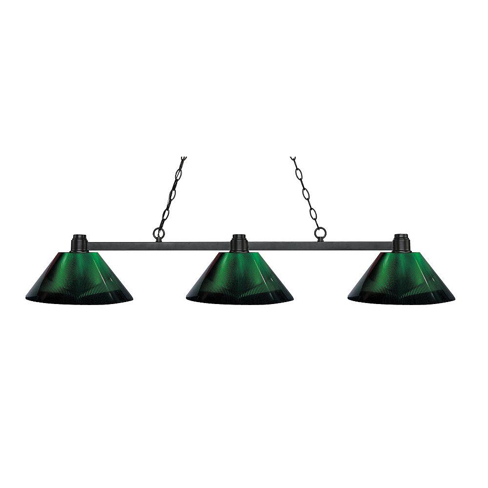 Filament Design 3-Light Bronze Island/Billiard with Green Acrylic Shade - 53.25 inch