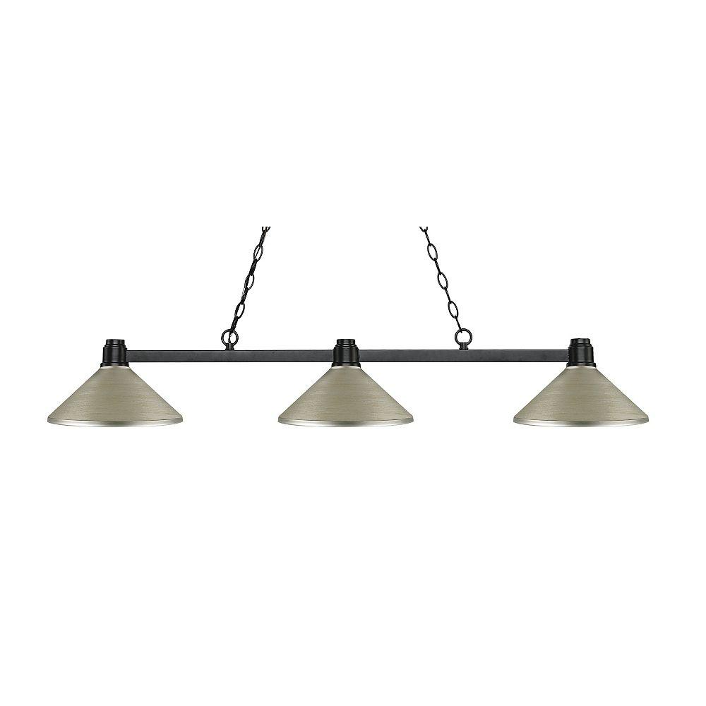 Filament Design Island / Billard en bronze à 3 ampoules avec abat-jour en acier argenté antique - 53,25 pouces