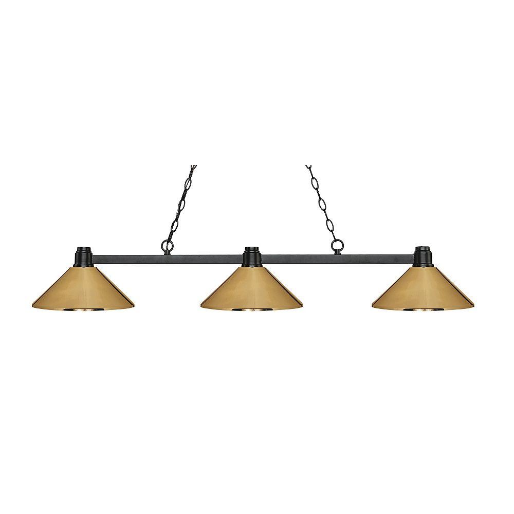 Filament Design Island / Billard bronze à 3 ampoules avec abat-jour en acier en laiton poli - 53,25 pouces