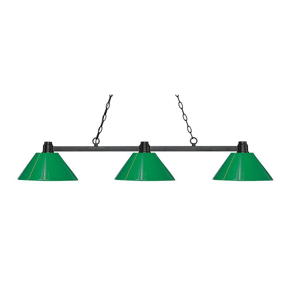 Filament Design Island / Billard Bronze à 3 Lumières avec Plastique Vert
