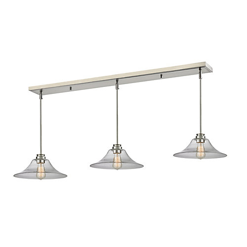 3-Light Brushed Nickel Island/Billiard with Clear Glass - 56 inch