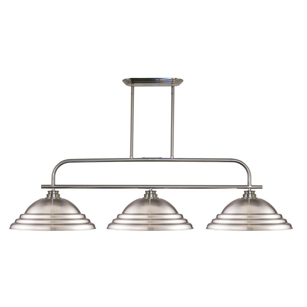 Filament Design 3-Light Brushed Nickel Island/Billiard with Brushed Nickel Steel Shade - 53.5 inch