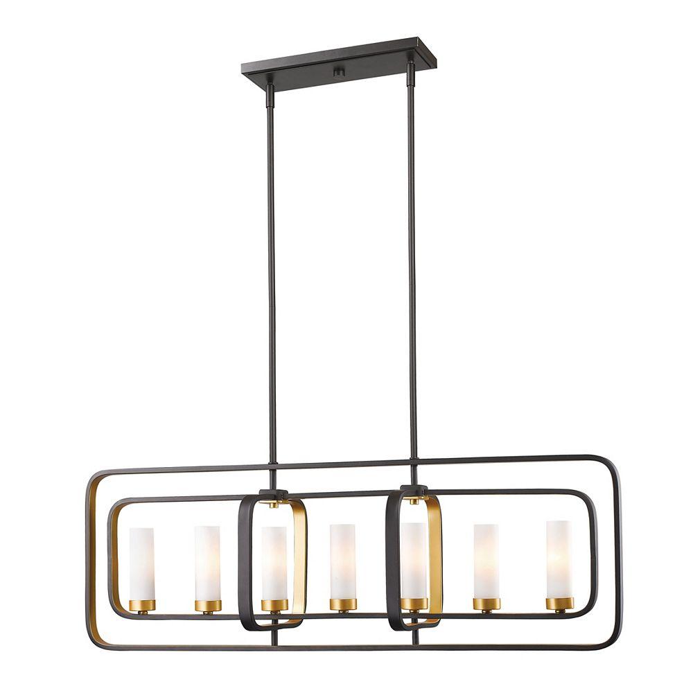 Filament Design Billard avec doré et opaque, 7 lumières, bronze