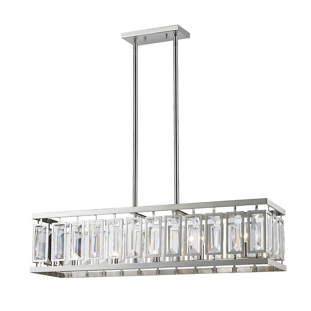 Filament Design 5-Light Brushed Nickel Island/Billiard with Clear Crystal Accents - 35.2 inch