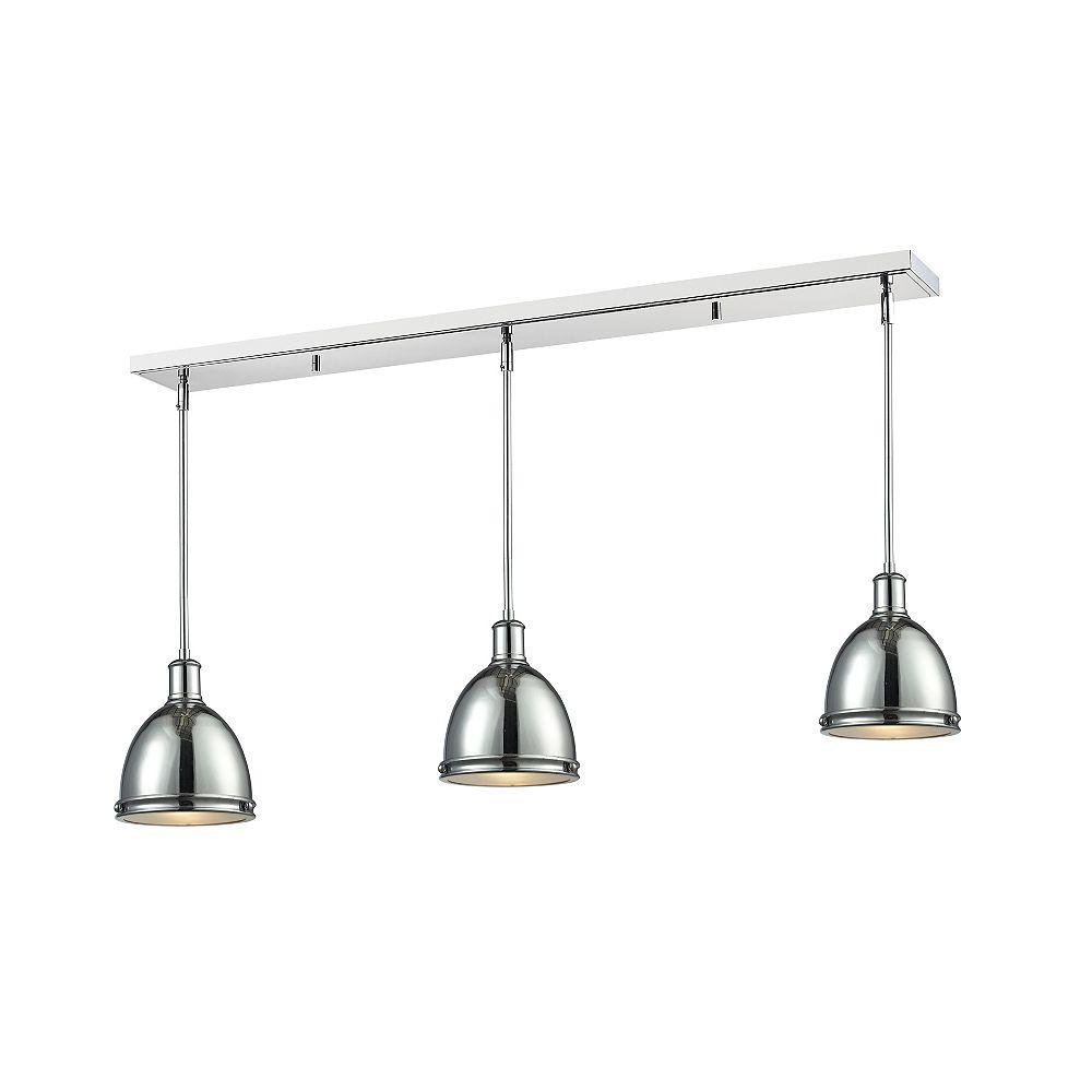 Filament Design Island / Billard à 3 ampoules chromées avec abat-jour en acier chromé, 50 po