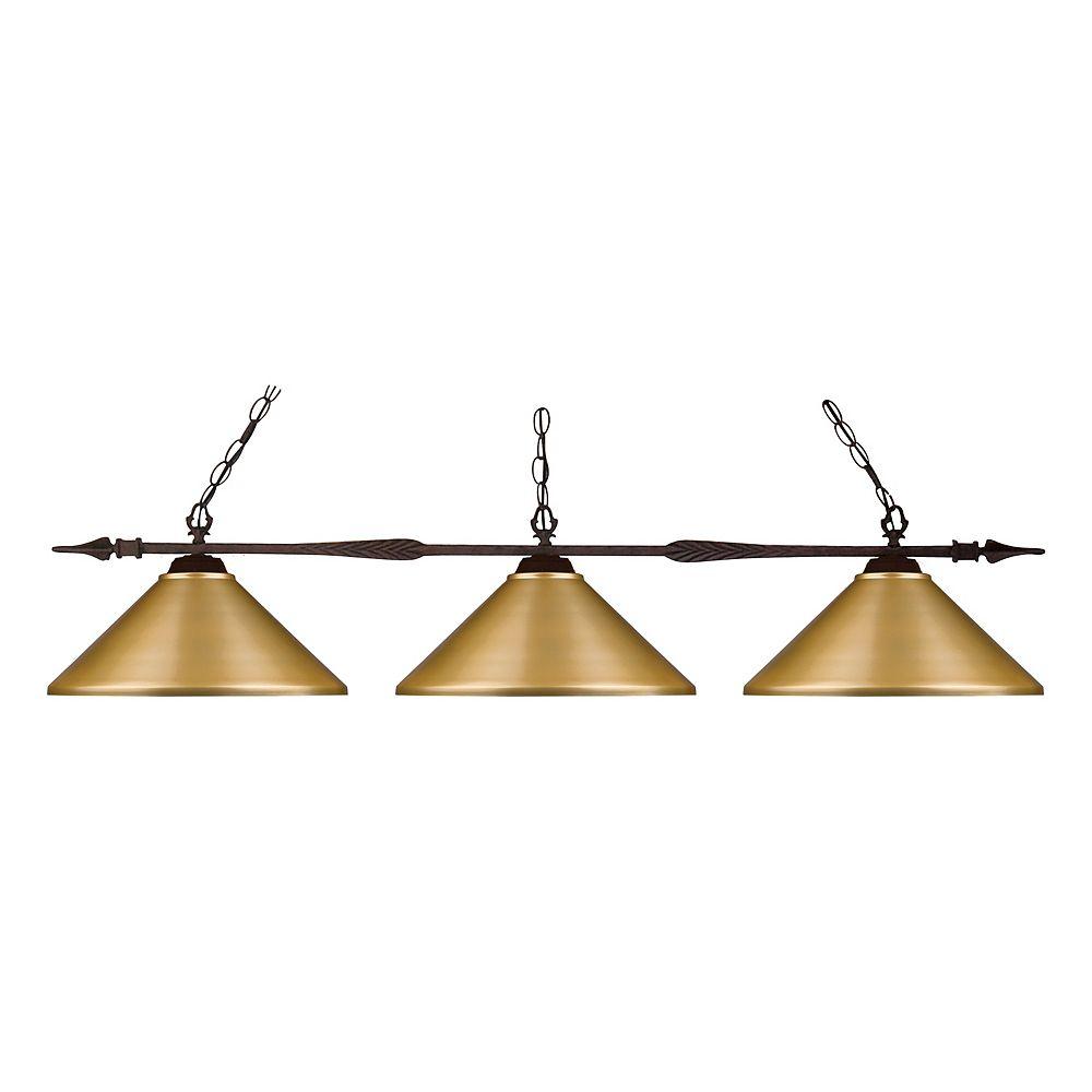 Filament Design 3-Light Bronze Island/Billiard with Satin Gold Steel Shade - 51 inch