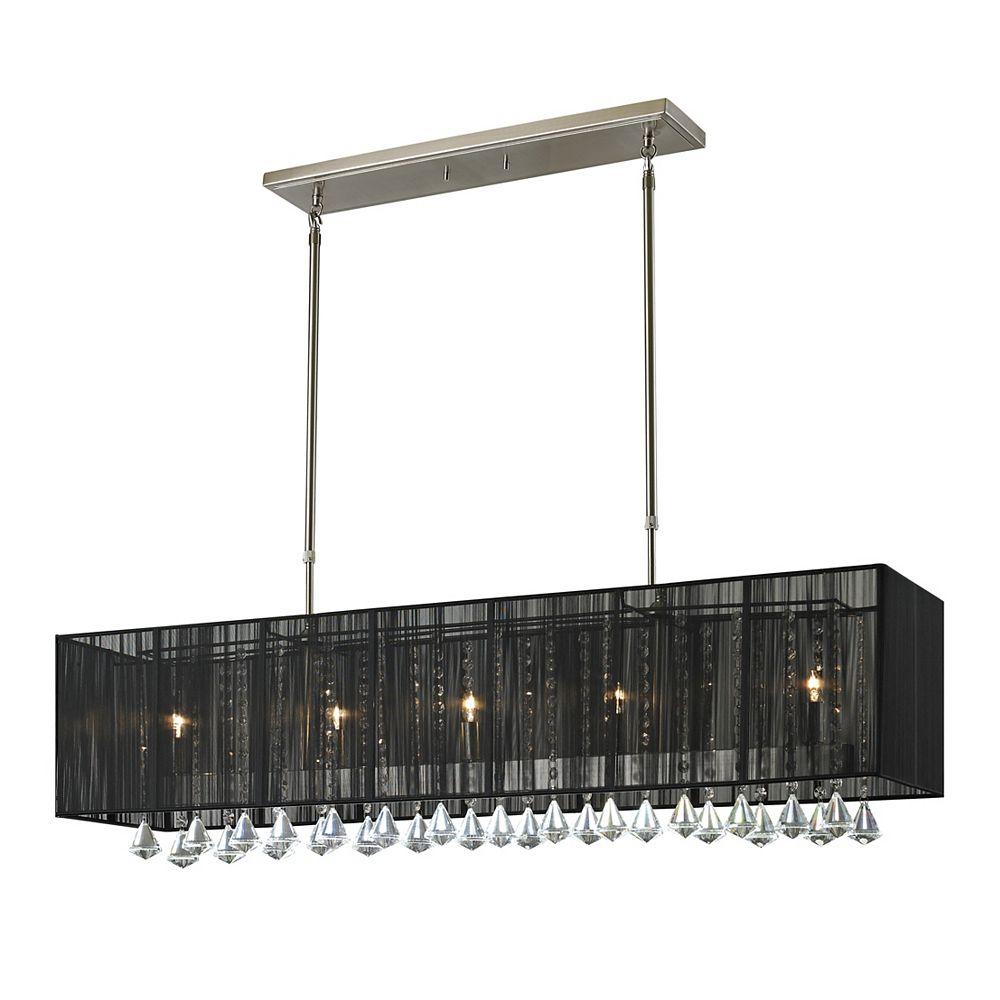 Filament Design Billard Island / Nickel brossé à 5 ampoules avec abat-jour en soie noire - 45 pouces