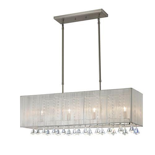 Filament Design 4-Light Brushed Nickel Island/Billiard with White Silk String Shade - 34 inch